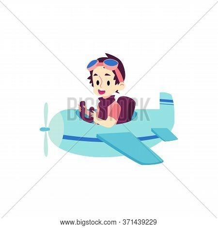 Child Pilot Flying A Blue Airplane - Happy Cartoon Boy Sitting In Small Plane