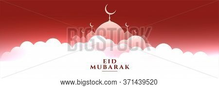 Heavenly Scene With Mosque Eid Mubarak Banner