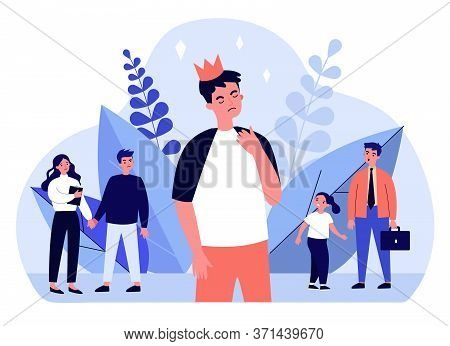 Proud Man Wearing Crown. Arrogant, Selfish, Unpleasant Person Flat Vector Illustration. Communicatio