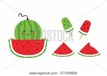 Set, Collection Of Watermelon Icons, Illustrations For Summer Food Design. Green Watermelon Smiling