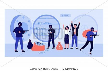 Gangsters And Bank Workers During Robbery. Burglars With Gun Removing Stacks Of Money From Open Safe