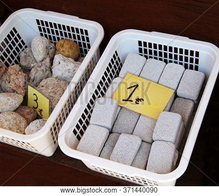 Pumice Stones Selling In A Souvenir Shop, Symi Town, Symi Island, Greece
