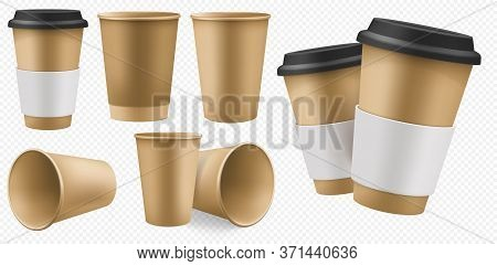 Craft Cup Paper. Blank Brown Coffee Cup Template With Cardboard Holder And Plastic Lid. Takeaway Cra