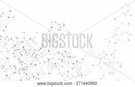 Social Media Communication Digital Concept. Network Nodes Greyscale Plexus Background. Genetic Engin