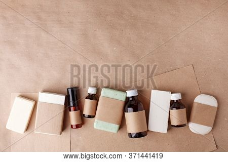 Set Of Eco Cosmetics Products And Tools. Soap, Shampoo Bottles, Bamboo Toothbrush, Solid Shampoo Bar