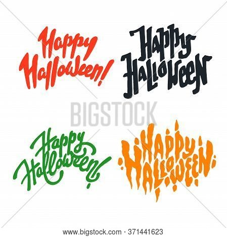 Vector Illustration Set Of Halloween Postcards. Creepy Happy Halloween Lettering Postcards. Autumn H