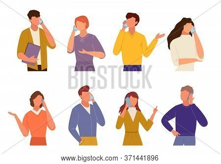 People Talking On Phone Set. Communication In Quarantine Mode Different Smartphone Mobile Phone Guy