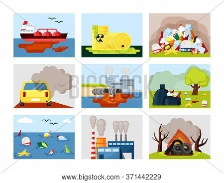Pollution Environmental Set. Car Exhaust Toxic Landfill Plastic Ocean Waste Industrial Wastewater Ra