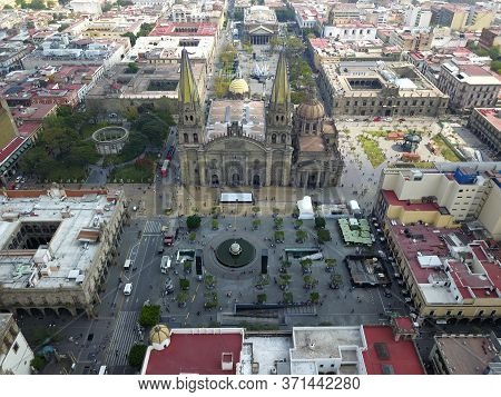 Guadalajara, Mexico February 10 2019: Aerial View Of Downtown Guadalajara, The Cathedral, The Plaza