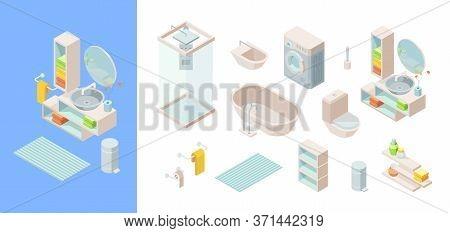 Isometric Bathroom Set. Controlled Shower, Washing Machine Rug Wash Basin Mirror Bathtub Faucets Toi