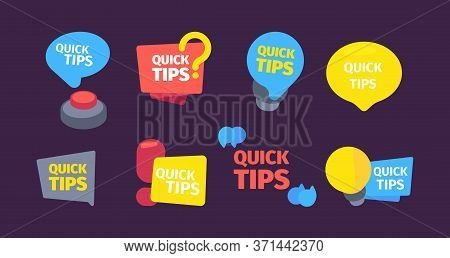 Quick Set Tips. Useful Hints And Tips Color Banners Red Button Question Mark Speed Idea Bulb Modern