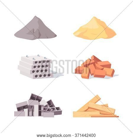 Building Material Set. Large Piles Gray Cement Yellow Sand Concrete Blocks Pile Red Brick Curly Cind