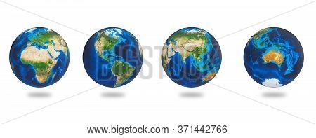 Africa, Asia, Europe, America, Australia, The Earths Continents. Earth Set Isolated On White Backgro