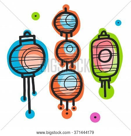 Colorful Handdrawn Vector Illustration With Different China Lanterns. China Holiday, Festival Paper