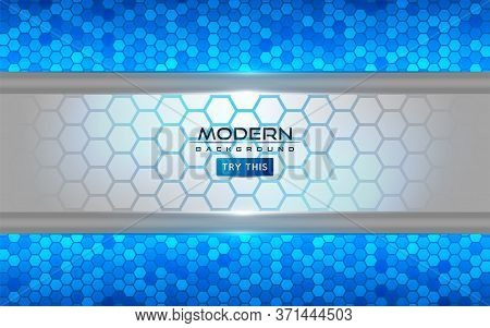Modern White And Blue Tech Abstract Background With Shinny Lines Effect. Background Design Template