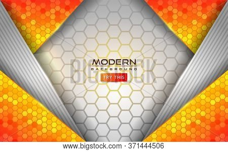 Modern White And Orange Tech Abstract Background With Shinny Lines Effect. Background Design Templat