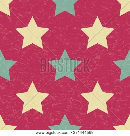 Circus Carnival Retro Vintage Stars Seamless Pattern. Textured Old Fashioned Retro Graphic Template.