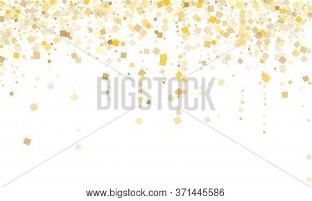 Trendy Gold Square Confetti Tinsels Flying On White. Chic New Year Vector Sequins Background. Gold F