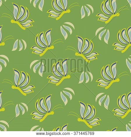 Stylized Butterflies On Green Meadow Seamless Vector Pattern. Girly Surface Print Design For Fabrics