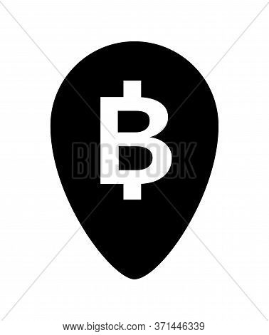 Currency Money Symbol In Pin Point Icon Isolated On White, Thb Coin Thailand For Flat Icon Style, Th