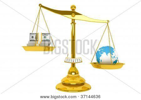 Scale, Money And Globe