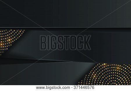 Abstract Minimal Black Geometric Background Textured With Shimmering Gold Glitter. Abstract Luxury B