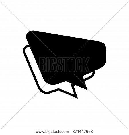 Speech Balloon Trapezoid Shape Isolated On White, Speech Bubble Sign Of Communication Symbol, Black
