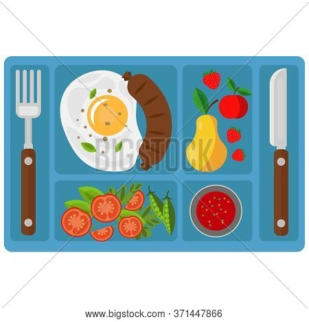 Breakfast On A Tray With Compartments. Vector Illustration On The Theme Of Food.