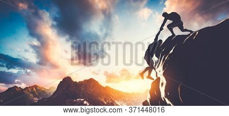 Man giving hand, helping his colleague to climb the mountain. Teamwork, helping each other and mutual support. 3D illustration.