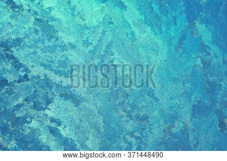 Abstract Spotted Turquoise, Aquamarine And Blue Background. Chaotic Spots And Stains, Similar To See