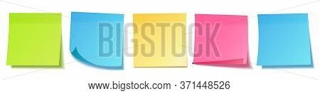 Realistic Blank Sticky Notes Isolated On White Background. Colorful Sheets Of Note Papers. Paper Rem
