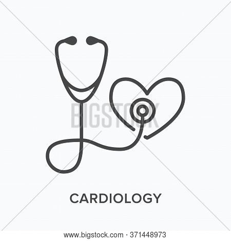 Stethoscope With Heart Flat Line Icon. Vector Outline Illustration Of Listening To Heartbeat. Cardio