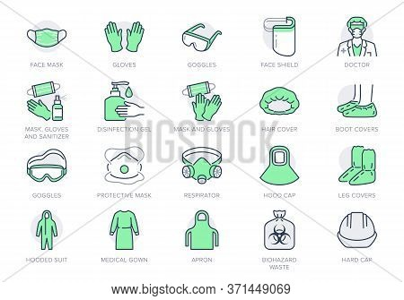 Medical Ppe Line Icons. Vector Illustration Included Icon As Face Mask, Gloves, Doctor Gown, Hair Co