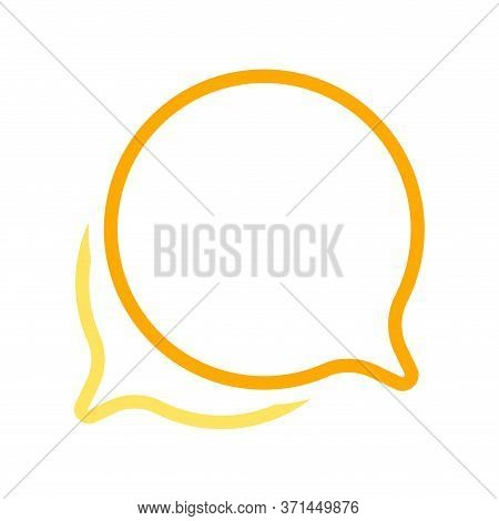 Speech Bubble Orange Circle Isolated On White, Bubble Chat Sign For Icon Speak Or Talk, Balloon Spee