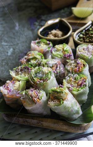 Healthy Fresh Vegetable Spring Rolls Serving, Stock Photo