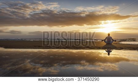 Yoga Meditation Silhouette Lotus Sunrise Beach, Mindfulness, Wellness And Wellbeing Concept, Water R