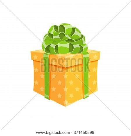 Birthday Present Or Surprise Party Gift Box Isolated Vector Illustration. Cartoon Cube Giftbox With
