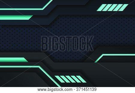 Dark Black And Blue Minimal Tech Background. Abstract Modern Background Texture. Design Futuristic M