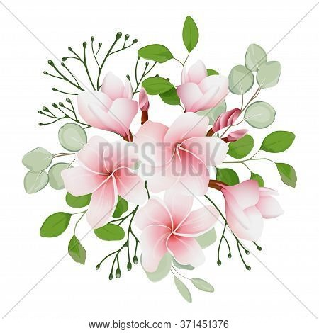Bouquet With Pink Flowers Of Plumeria (frangipani). Tropical Flowers And Leaves. Wedding Floristry.