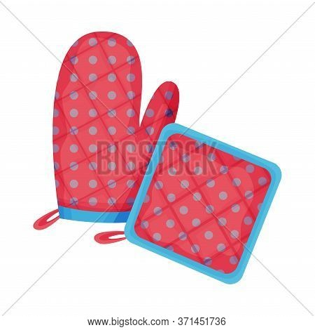 Cooking Glove Or Oven Mitt And Textile Potholder Vector Illustration