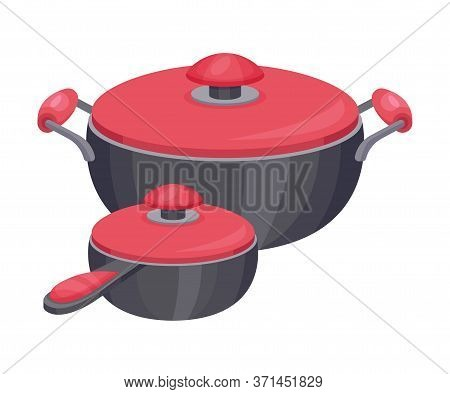 Saucepan And Cooking Pot As Metal Kitchen Utensil Vector Illustration