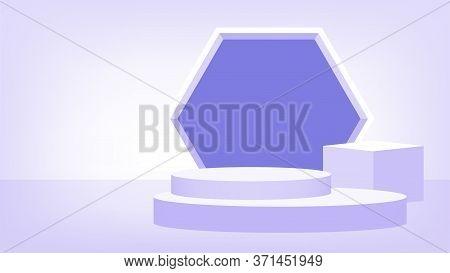 3d Stage Pedestal Purple Pastel, Podium Stage Show For Victory Champion Position, Pedestal Purple So
