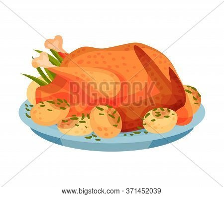 Roasted Whole Round Of Turkey Or Chicken Served On Plate With Potato Vector Illustration