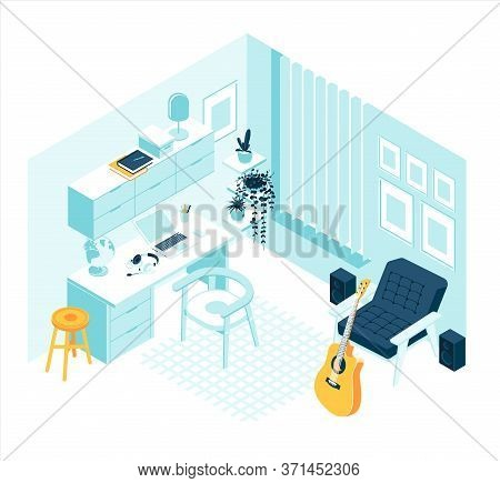 Isometric Musician Cabinet With Guitar And Sound Speakers Home Furniture And Accessories Interior Co