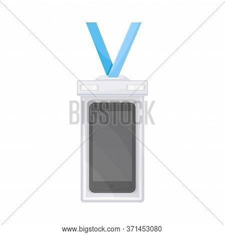 Vertical Badge On Strap With Plastic Waterproof Membrane Vector Illustration
