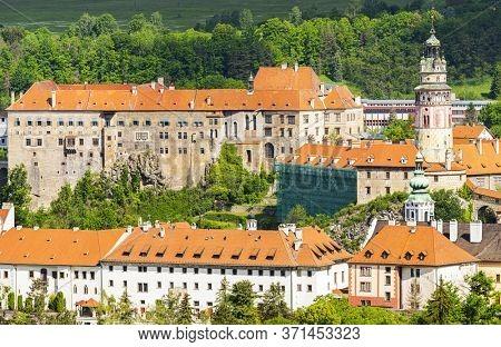 View of beautiful Czech castle in Cesky Krumlov from Crucifix Hill (Krizova hora)