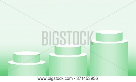 Green Pastel Pedestal Cylinder Circle 3 Steps For Cosmetics Showcase, 3d Podium Circle Stage Green S