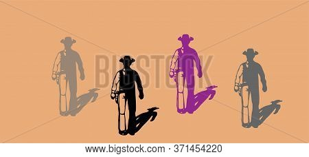 Cowboy Vector Illustration On Background Robber, Rogue, Rope, Sign, Standing