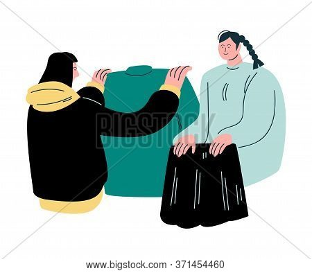 Women Choosing New Clothes During Shopping Vector Illustration