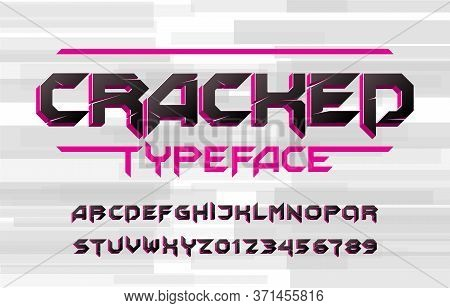 Cracked Alphabet Typeface. 3d Effect Letters And Numbers. Stock Vector Typescript For Your Typograph